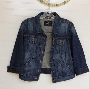 Ann Taylor LOFT jean denim jacket with pockets s8